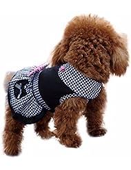 iEFiEL Vestido Negro de Cuadros para Mascota Disfraces para Perros Gatos