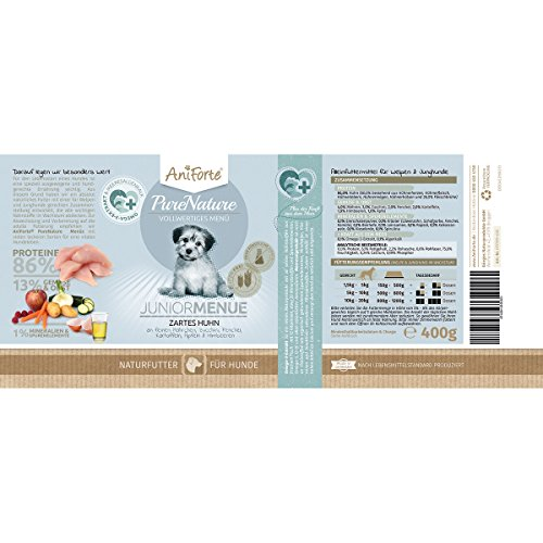 AniForte® PureNature Zartes Huhn Junior 400g Hundefutter- Naturprodukt für Hunde und Welpen (6x400g) - 3