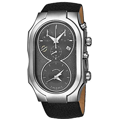 Philip Stein Men's Black Calfskin Band Steel Case Swiss Quartz Watch 300SDGCB
