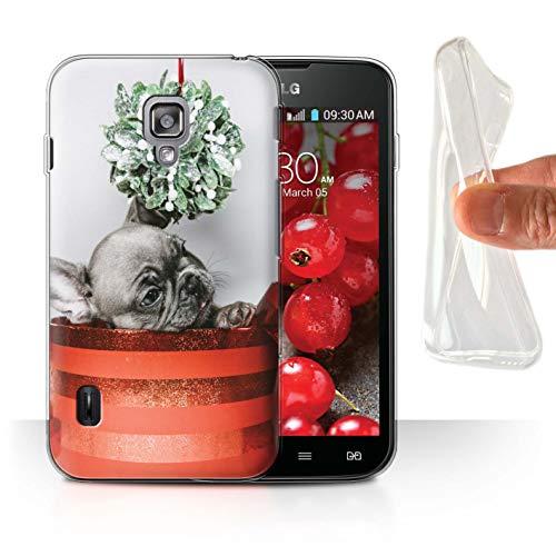 Stuff4® Gel TPU Hülle/Case für LG Optimus L7 II Dual/Mistelzweig Welpe Muster/Weihnachts Festliche Jahreszeit Kollektion (Lg Ii Optimus Case L7 Dual)