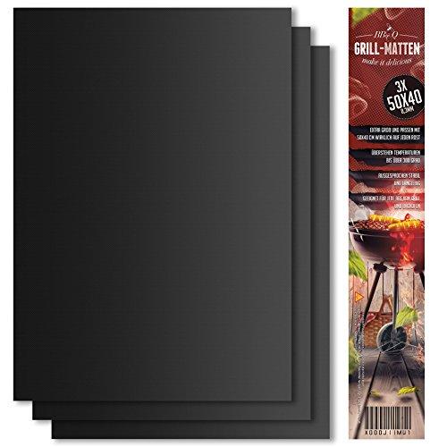 Grillmatte (3er Set) zum Grillen und Backen | aus Silikon mit Teflon Antihaftbeschichtung für bis 300°C | extra Groß und langlebig | 0.3 mm dick - 40x50 cm | ideal für Gas - Kohle - E-Grill und Backofen geeignet | LFGB und FDA Zulassung .