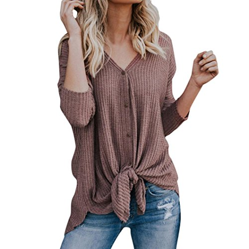 Yvelands Frauen lösen Knit Tunika Bluse Tie Knot Henley Tops Fermaus-Flügel Plain Shirts (Ties Knit Pack)