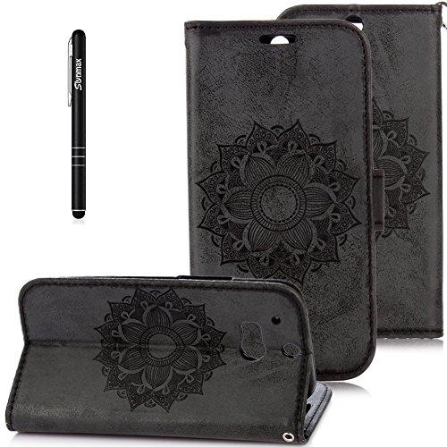 Slynmax Blumen Mandala Flip Tasche Schutzhülle für HTC One M8 Smartphone 5 Zoll Hülle Wallet Case Kunstleder Retro Lederhülle Bumper Handyhülle KlapphülleStandfunktion Karte Halter (Schwarz)