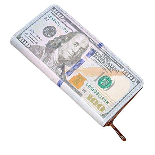 YJYdada Damen Herren Geldbörse aus Leder mit Reißverschluss, edelstahl, grün, M