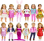 ZITA ELEMENT 26 Pcs 18 Doll Clothes Dress for American 18 Inch Girl Doll Clothes and Accessories - 12 Sets Dol