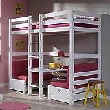 Pharao24 Mädchen Hochbett mit Sitzecke Weiß Pink