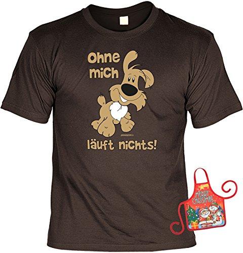 Richtige Das Ist Ideen T Shirt Preis (Hund Weihnachtsgeschenk-Set - lustiges Sprüche T-Shirt + Minischürze : Ohne mich läuft nichts! -- Hunde-Shirt + witziger Scherzartikel Flaschenschürze Gr:)