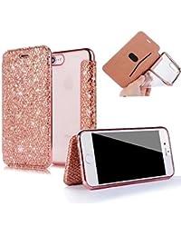 Sycode - Funda con tapa para iPhone 8 (silicona, carcasa de protección completa para iPhone 8 y 7 de 4,7 pulgadas), color dorado y rosa, oro rosa