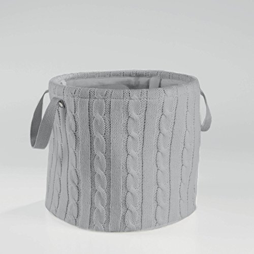 Aufbewahrungskorb Korb Strick Rund Grau, Rosa oder Weiss, Farbe:Grau