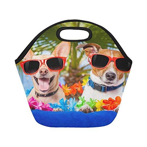 Isolierte Neopren-Lunchpaket-Paar-Hunde auf Sommer-Ferien-Strand-große wiederverwendbare thermische starke Mittagessen-Tragetaschen für Lunch-Boxen für im Freien arbeiten, Büro, Schule