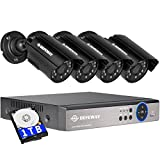 DEFEWAY 4-Kanäle-1080N-Überwachungskamera Set/ Videoüberwachung DVR-Recorder mit 4 x 1200TVL / 720P 24 IR-LEDs 80ft IR-Nachtsicht AHD security system(1TB HDD)