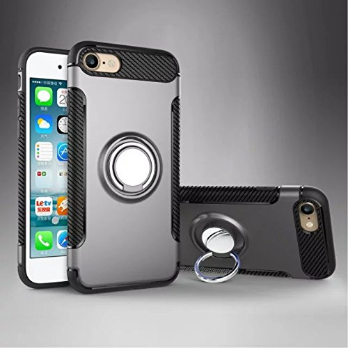YHUISEN IPhone 7 Plus Fall, Rüstung Dual Layer 2 in 1 Heavy Duty Shockproof Schutzhülle mit 360 Grad drehenden Finger Ring Halter und Magnet Car Holder Case für iPhone 7 Plus ( Color : Gold ) Gray