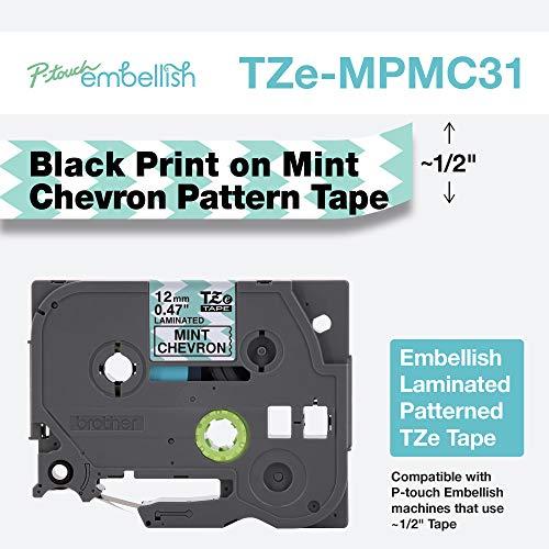 Brother International TZEMPMC31 TZE Musterband, Schwarz auf minzfarbenem Chevron
