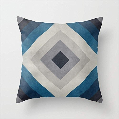 LULABE Greece Hues Tunnel 2 Throw Pillow Cushion Cover for Couch Sofa Or Bed Set Cozy Home Decor Size:20 X 20 Inches/50cm x 50cm Gingham Wedges