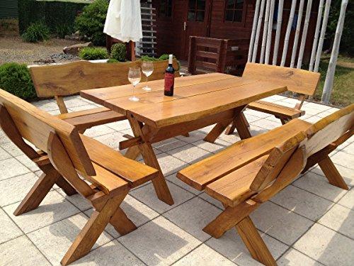 Waidmann 5tlg. Gartenmöbel Set aus Eiche, handgefertigte Sitzgruppe