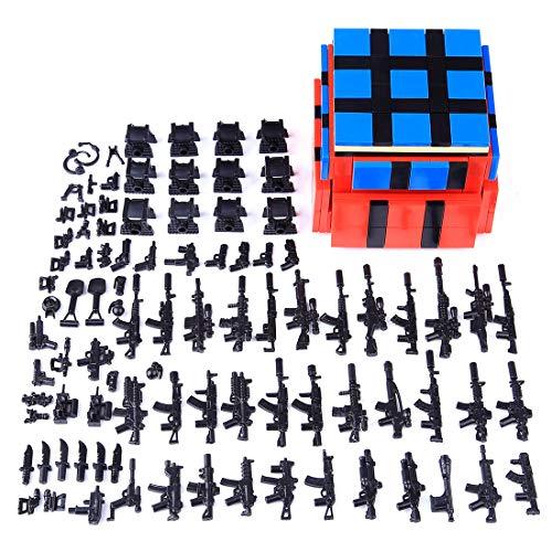 NURICH Weste + Custom Waffen Set für Mini Figuren SWAT Team Polizei Militär Soldaten, passen zum Lego