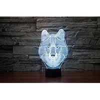 lampada 3D acrilico lupo luci colorate della lampada della luce di notte luci di visione creativa , orange