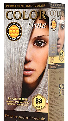 Color time, tinte permanente cabello color rubio plata