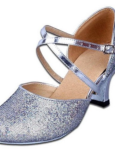 ShangYi Women's Dance Shoes Modern Leatherette/Paillette Chunky Heel Silver/Gold Gold