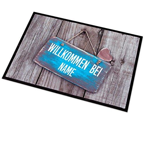 GeschenkIdeen.Haus - Fußmatte mit persönlichem Aufdruck - Türschild, Herz & Name