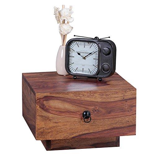 WOHNLING legno massello comodino Sheesham Design Night-dresser 25 cm di altezza con cassetto del comodino in legno naturale 40 x 40 cm comodino deco comodino mobili marrone scuro camera da letto in stile country