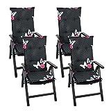 4er Set Gartenstuhlauflage Stuhlauflage Polsterauflage Hochlehner 116x46cm - 6cm dick, schwarz mit Schmetterlingen Sitzauflage Sitzpolsterauflage Sitzkissenpolster