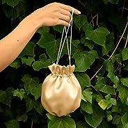 Borse Borsa Pochette donna tela tessuto saten oro