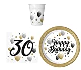 Procos 36pezzi di stoviglie set per festa 30compleanno–piatti bicchieri tovaglioli per 8persone