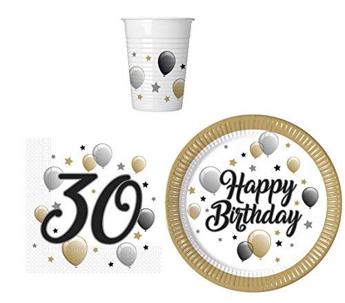 52 Teile Party-Geschirr Set für 30 Geburtstag - Teller Becher Servietten (16 Personen) (Geschirr 16. Geburtstag)
