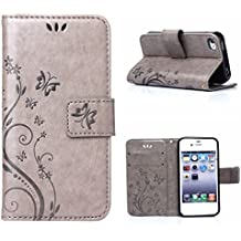 MOONCASE iPhone 4S Bookstyle Étui Fleur Housse en Cuir Case à rabat pour iPhone 4 4S Coque de protection Portefeuille TPU Case Gris