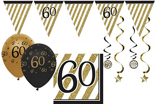 34 Teile Dekorations Set zum 60. Geburtstag oder Jubiläum - Party Deko in Schwarz & Gold