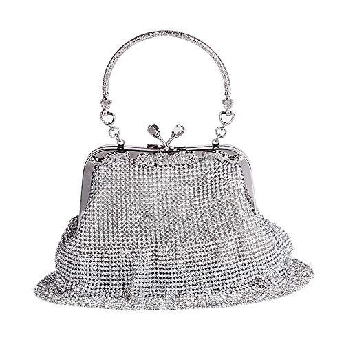 MMYOMI Damen Silber Sparkly Diamante Crystal Satin Handtasche Abend Hochzeit Handtasche Handtasche Tasche (Silber)