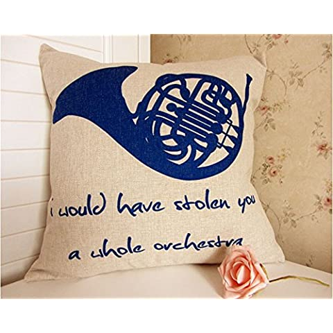 Bingirl Limited 18 x18 How I Met Your Mother Blue Horn Throw Pillow case/Fundas para almohada Cushion Cover