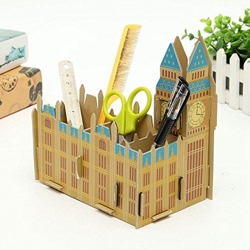 GMissT Cartoon DIY Office Desk Organizer Pen/Pencil Holder BIG BEN Pattern