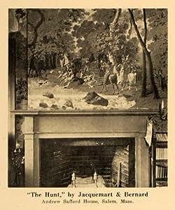 1920 Print Papier peint Motif la chasse Jacquemart Bernard-Imprimé Original Halftone