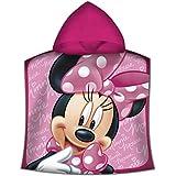 Kids - Poncho Toalla, Diseño Minnie, color rosa, 50 x 100 cm (