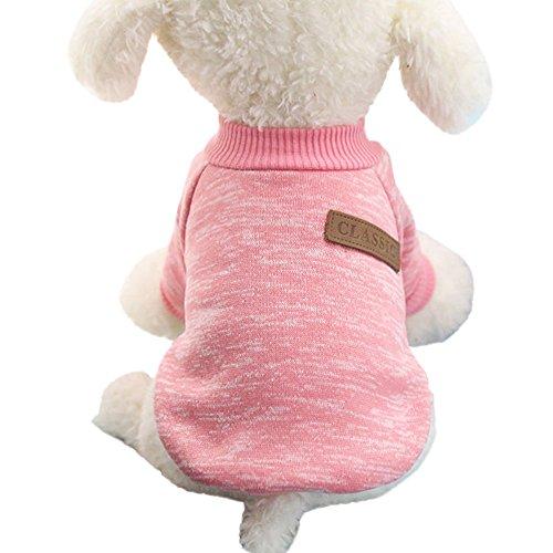 (Dragon868 Haustier Hundepuppen Sweater Fleece Elastische Winter Warm Kleidung S-XL (S, Rosa))