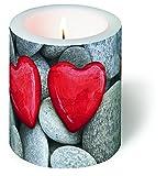 Kerze rund Love Stones – Steine der Liebe / Herzen / Hochzeit Ø 9cm, Höhe 10cm
