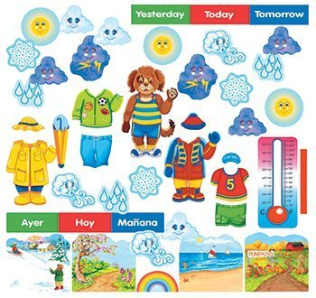 Wally The Weather Dog Felt Figures for Flannel Boards/ Bulletin Board plus lesson guide bilingual by Constructive Playthings
