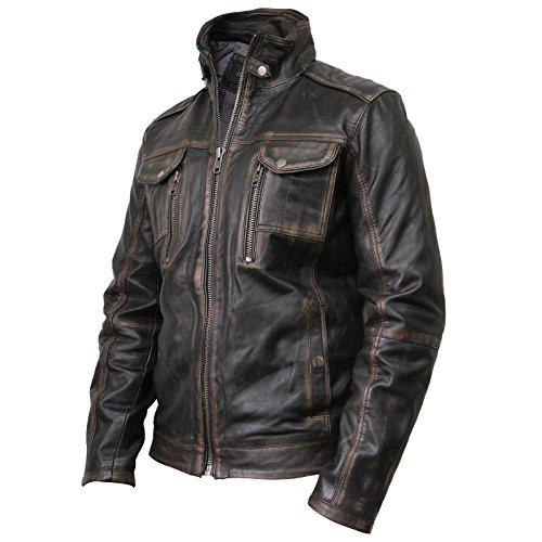 Vintage schwarze Herren Bikerjacke aus Leder (Large) - 2