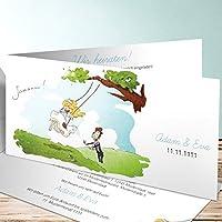Ausgefallene Einladungskarten Hochzeit, Hochzeitsschaukel 70 Karten,  Horizontale Klappkarte 210x100 Inkl. Weißer Umschläge,