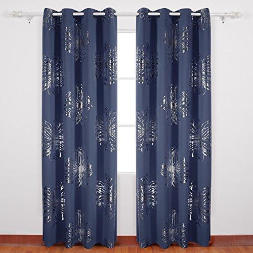 Deconovo tende oscuranti termiche isolanti stampa delle fiori con occhielli per soggiorno 140x245 cm blu navy 2 pannelli