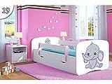 Kocot Kids Kinderbett Jugendbett 70x140 80x160 80x180 Weiß mit Rausfallschutz Matratze Schublade und Lattenrost Kinderbetten für Mädchen und Junge - Jumbo 180 cm