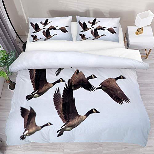 Soefipok Bettwäsche Bettwäscheset Gans Ente Vogel Bedruckt Tröster-Set mit 2 Kissenbezügen 3-teilig weich, 1 Bettwäscheset mit 2 Kissenbezügen -
