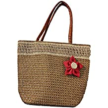 Women's High Trendy Jute Handbag Red Flower Design Dual Pocket (Stylish)