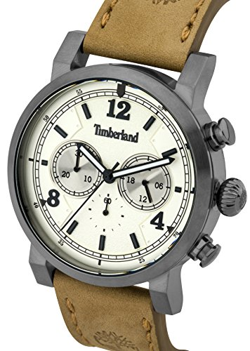 Timberland-Mens-Quartz-Watch-with-Beige-Dial-Analogue-Display-and-Brown-Leather-Strap-14811JSU07