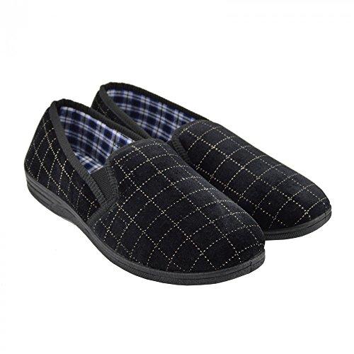 Kick Footwear Mens Warm Pull On Sliper Very Comfortable Schwarz