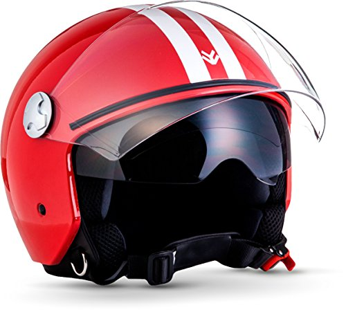 "ARMOR · AV-63 ""Fun Red"" (Rot) Motorrad-Helm Mofa Roller Chopper  Click-n-Secure Clip · Tragetasche · S (55-56cm)"