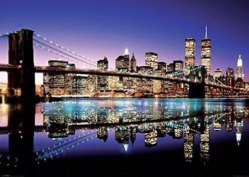 Brooklyn Bridge Lichter (New York XXL Poster Skyline Brooklyn Bridge by Night (140cm x 100cm) + Ü-Poster)