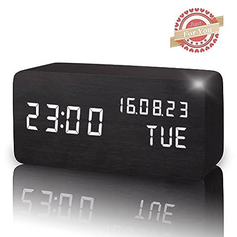 Leeron LED Digital Wecker, Zeigt Uhrzeit Datum Woche und Temperatur,